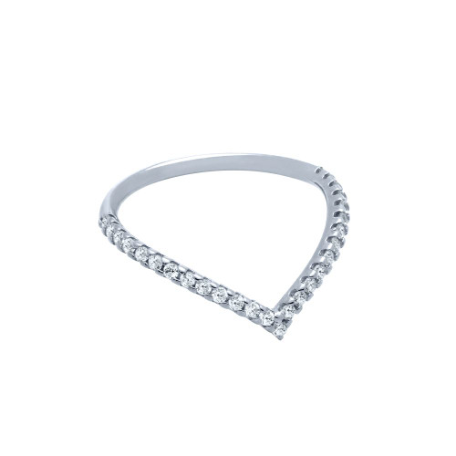 """RHODIUM PLATED ETERNITY """"V"""" CHEVRON STACKABLE CZ BAND"""
