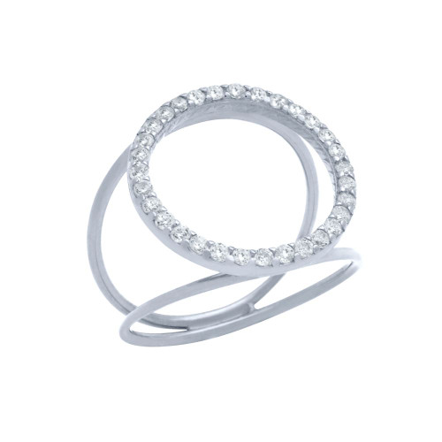 RHODIUM  PLATED SPLIT SHANK RING WITH 18MM CZ ETERNITY CIRCLE
