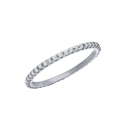 RHODIUM PLATED ETERNITY WHITE CZ STACKABLE BAND RING