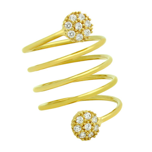 "GOLD PLATED SPIRAL ""SPRING RING"" WITH ROUND CZ CLUSTERS"