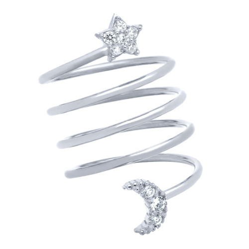 """RHODIUM PLATED SPIRAL """"SPRING RING"""" WITH CZ PAVE MOON AND STAR"""