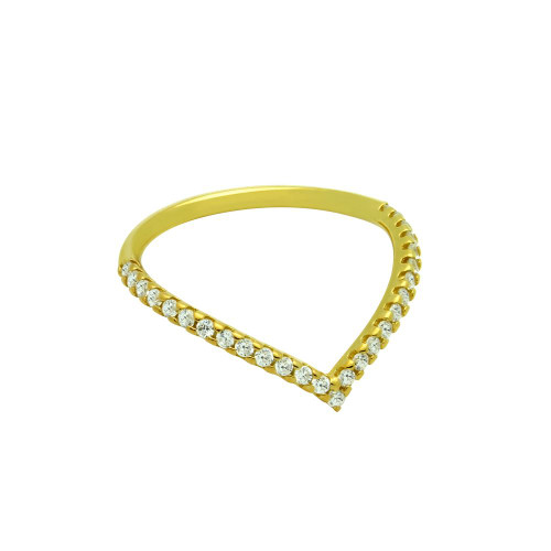 """GOLD PLATED ETERNITY """"V"""" CHEVRON STACKABLE CZ BAND"""