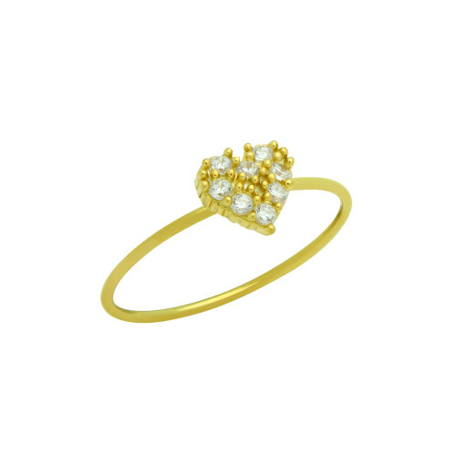 GOLD PLATED PAVE CLEAR CZ HEART STACKABLE RING
