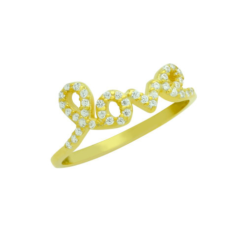 GOLD PLATED LOVE CZ RING