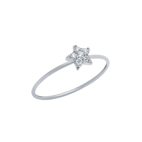 RHODIUM PLATED PAVE CLEAR CZ STAR STACKABLE RING