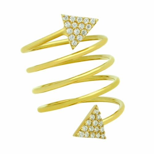 "GOLD PLATED SPIRAL ""SPRING RING"" WITH CZ PAVE TRIANGLES"