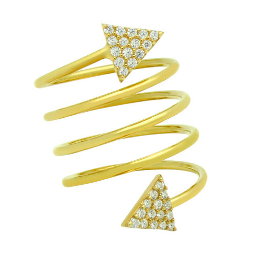 """GOLD PLATED SPIRAL """"SPRING RING"""" WITH CZ PAVE TRIANGLES"""
