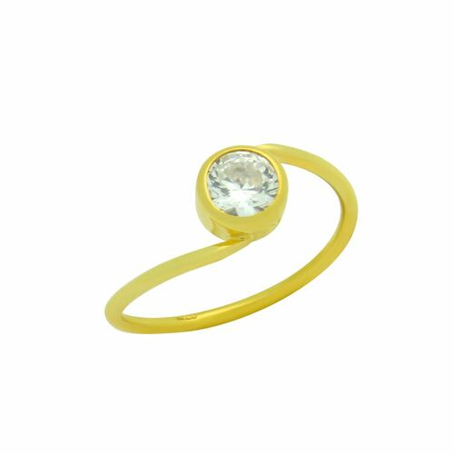 GOLD PLATED CROSSOVER RING WITH 5MM CZ