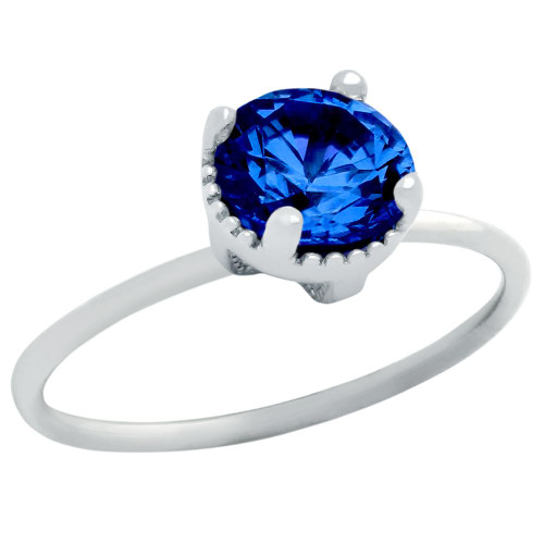 RHODIUM PLATED SEPTEMBER BIRTHSTONE SAPPHIRE BLUE ROUND CZ RING