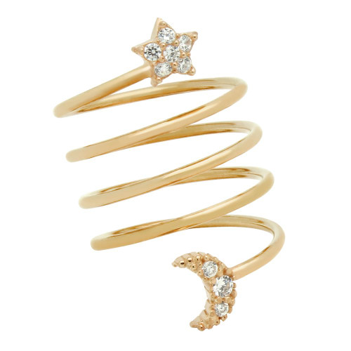 """ROSE GOLD PLATED SPIRAL """"SPRING RING"""" WITH CZ PAVE MOON AND STAR"""