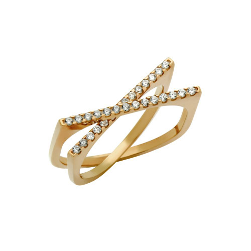 "ROSE GOLD PLATED SPLIT-DOUBLE-SHANK ""X"" RING WITH CZ PAVE"