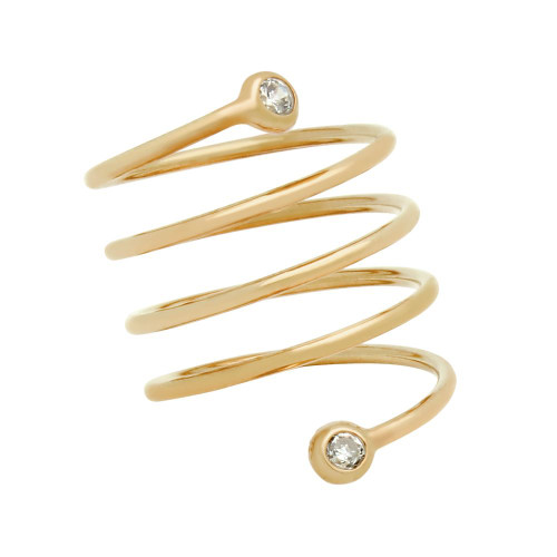 """ROSE GOLD PLATED SPIRAL """"SPRING RING"""" WITH 3MM CZ"""