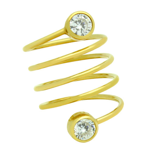 """GOLD PLATED SPIRAL """"SPRING RING"""" WITH 5MM CZ"""