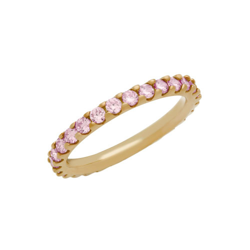 ROSE GOLD PLATED ETERNITY PINK CZ STACKABLE BAND RING