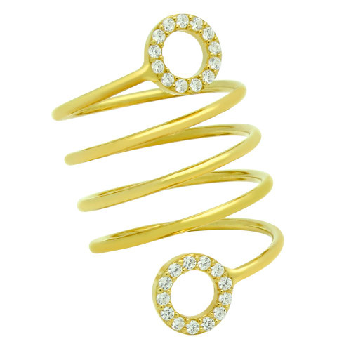 """GOLD PLATED SPIRAL """"SPRING RING"""" WITH CZ ETERNITY CIRCLES"""