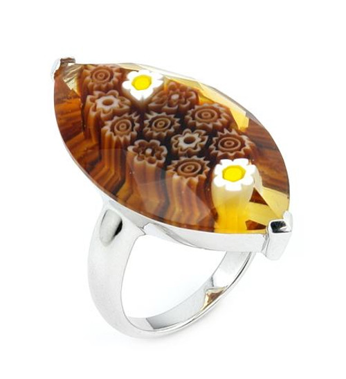 MURANO MILLEFIORI FACETED BROWN 18X32MM MARQUISE SHAPE RING