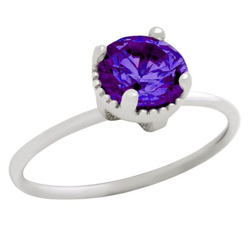 RHODIUM PLATED FEBRUARY BIRTHSTONE AMETHYST PURPLE ROUND CZ RING