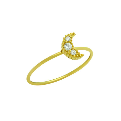 GOLD PLATED PAVE CLEAR CZ MOON STACKABLE RING
