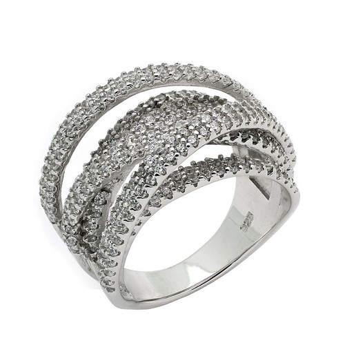 RHODIUM PLATED CZ MICRO PAVE COCKTAIL RING