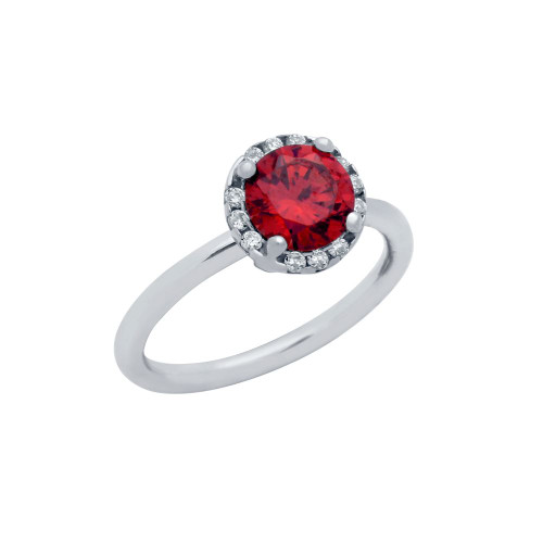 RHODIUM PLATED RED ROUND CZ RING WITH SURROUNDING CLEAR CZ STONES