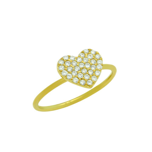 GOLD PLATED PAVE CZ HEART STACKABLE RING