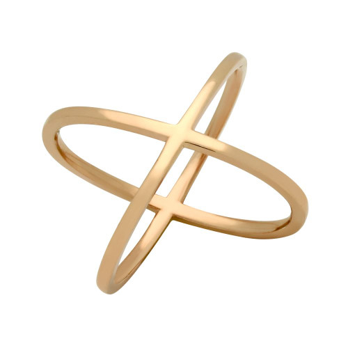 ROSE GOLD PLATED PLAIN X RING