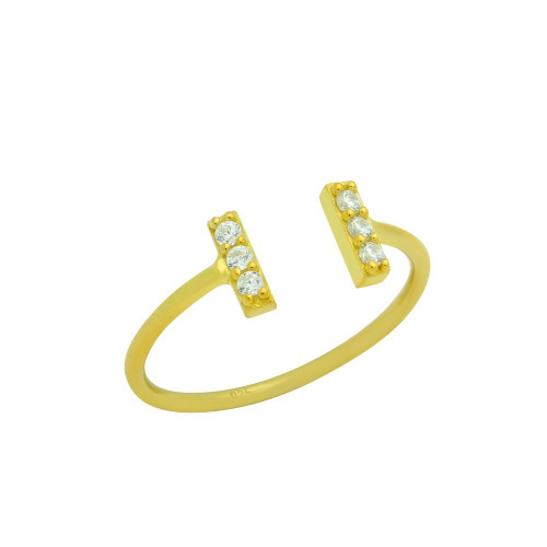 GOLD PLATED ADJUSTABLE STACKABLE RING WITH DOUBLE CZ BARS