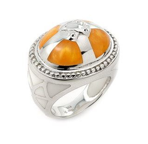 CARAMEL AND WHITE DESIGNO CROSS RING