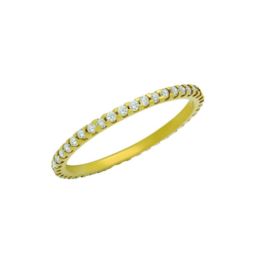 GOLD PLATED ETERNITY WHITE CZ LOW SETTING STACKABLE BAND RING