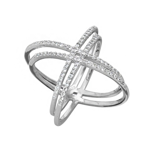 RHODIUM PLATED DOUBLE X CZ PAVE RING