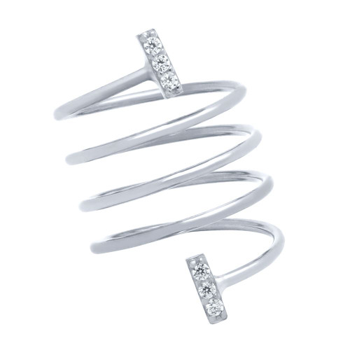 """RHODIUM PLATED SPIRAL """"SPRING RING"""" WITH CZ PAVE BARS"""