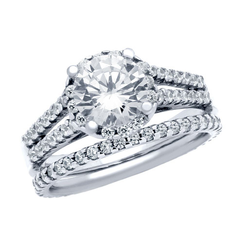 RHODIUM PLATED ROUND CZ HIGH DOUBLE ROW SETTING RING AND ETERNITY BAND WEDDING SET