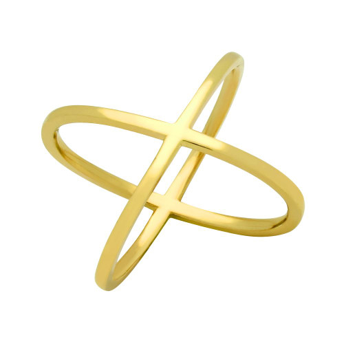 GOLD PLATED PLAIN X RING