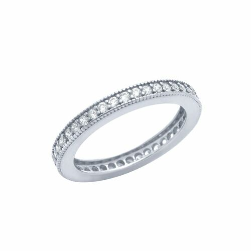 RHODIUM PLATED 1.75MM CZ ETERNITY BAND RING