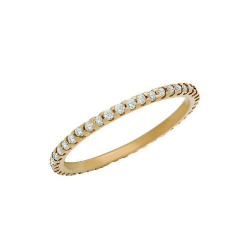 ROSE GOLD PLATED ETERNITY WHITE CZ LOW SETTING STACKABLE BAND RING