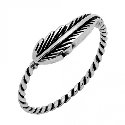 STERLING SILVER FEATHER RING WITH ROPE SHANK