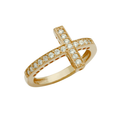 ROSE GOLD PLATED SIDEWAYS CZ CROSS RING