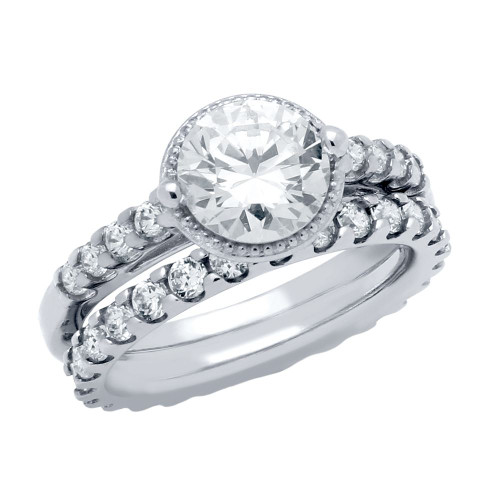 RHODIUM PLATED ROUND CZ HIGH SETTING HALO RING AND ETERNITY BAND WEDDING SET