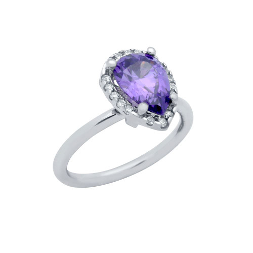 RHODIUM PLATED PURPLE TEARDROP CZ RING WITH SURROUNDING CLEAR CZ STONES
