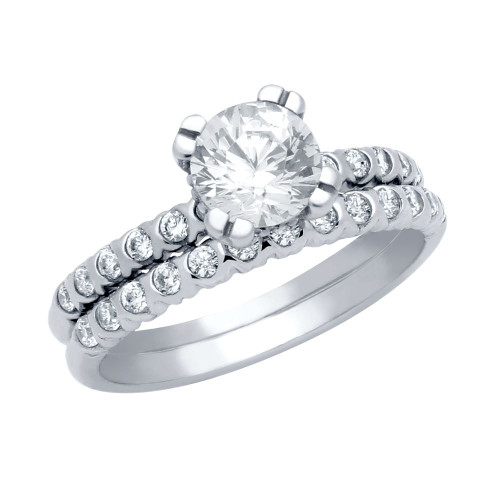 RHODIUM PLATED ROUND CZ CIRCULAR DESIGN RING AND XO ETERNITY BAND WEDDING SET