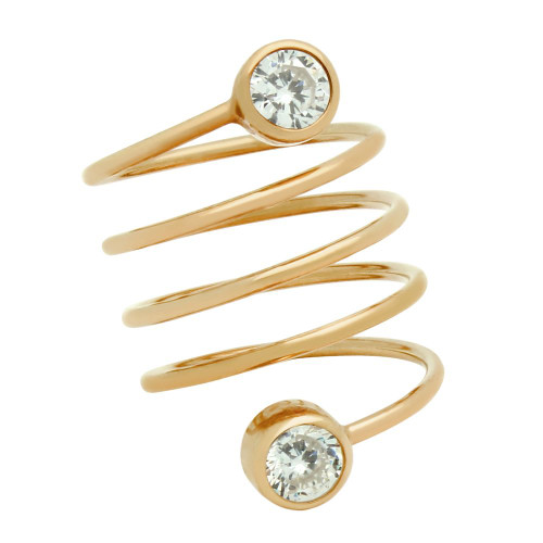 """ROSE GOLD PLATED SPIRAL """"SPRING RING"""" WITH 5MM CZ"""
