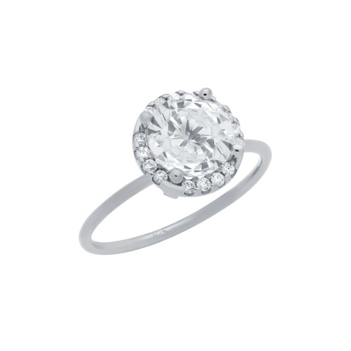 RHODIUM PLATED CLEAR 7.5MM ROUND CZ RING WITH SURROUNDING CLEAR CZ STONES