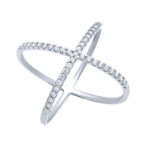 RHODIUM PLATED X RING WITH MEDIUM 1.25MM CZ PAVE