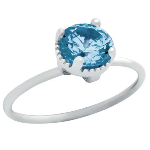 RHODIUM PLATED DECEMBER BIRTHSTONE BLUE TOPAZ COLOR ROUND CZ RING