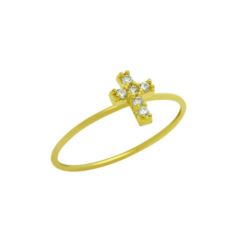 GOLD PLATED PAVE CLEAR CZ CROSS STACKABLE RING