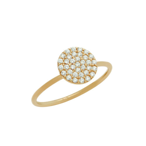 ROSE GOLD PLATED PAVE CZ DISK STACKABLE RING