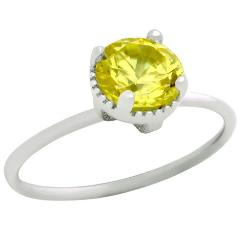 RHODIUM PLATED NOVEMBER BIRTHSTONE CITRINE YELLOW ROUND CZ RING