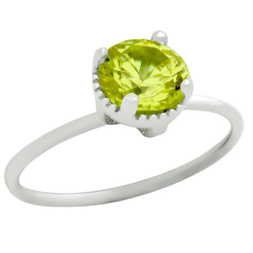 RHODIUM PLATED AUGUST BIRTHSTONE PERIDOT LIGHT GREEN ROUND CZ RING