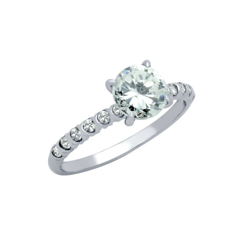 RHODIUM PLATED ROUND CZ CIRCULAR DESIGN ENGAGEMENT RING