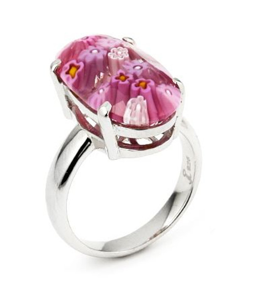 MURANO MILLEFIORI FACETED PINK 10x20MM OVAL RING